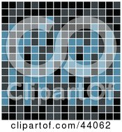 Clipart Illustration Of A Blue And Black Pixel Or Tile Background by Arena Creative