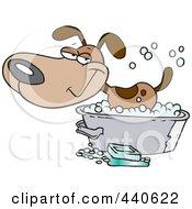 Cartoon Happy Dog Bathing In A Tub