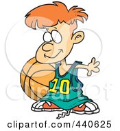 Royalty Free RF Clip Art Illustration Of A Cartoon Basketball Boy With A Big Ball by toonaday