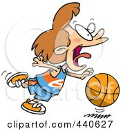 Royalty Free RF Clip Art Illustration Of A Cartoon Basketball Girl Dribbling by toonaday