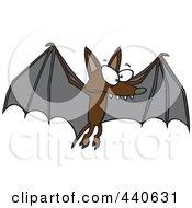 Royalty Free RF Clip Art Illustration Of A Cartoon Flying Bat