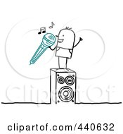 Royalty Free RF Clip Art Illustration Of A Stick People Character Man Singing Karaoke