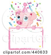 Royalty Free RF Clip Art Illustration Of A Cute Pig Birthday Party Invitation With A Blank Sign by Pushkin
