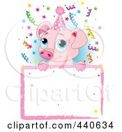 Royalty Free RF Clip Art Illustration Of A Cute Piglet Birthday Party Invitation With A Blank Sign Over Blue by Pushkin