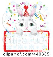 Royalty Free RF Clip Art Illustration Of A Cute Bunny Birthday Party Invitation With A Blank Sign