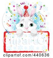 Royalty Free RF Clip Art Illustration Of A Cute Bunny Birthday Party Invitation With A Blank Sign Over Blue