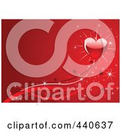 Royalty Free RF Clip Art Illustration Of A Shiny Red Heart With Ribbons And Sparkles On Red