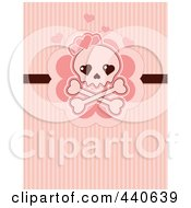 Royalty Free RF Clip Art Illustration Of A Skull And Crossbones With Pink Hearts Over Pink Lines