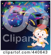 Royalty Free RF Clip Art Illustration Of A New Years Baby With Confetti On Blue by Pushkin