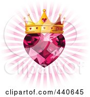 Ruby Heart With A Golden Crown Over A Pink Burst