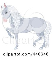Royalty Free RF Clip Art Illustration Of A Prancing Gray Horse by Pushkin