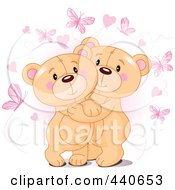 Royalty Free RF Clip Art Illustration Of Cute Teddy Bears Hugging Under Hearts And Butterflies Over Pink