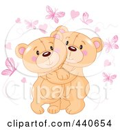 Royalty Free RF Clip Art Illustration Of Cute Teddy Bears Hugging Under Hearts And Butterflies