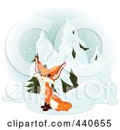 Royalty Free RF Clip Art Illustration Of A Cute Fox Sitting By Evergreens In The Snow by Pushkin