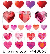 Royalty Free RF Clip Art Illustration Of A Digital Collage Of Patterned Hearts