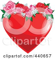 Royalty Free RF Clip Art Illustration Of A Shiny Red Heart With Pink And Red Roses