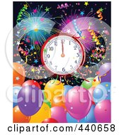 Royalty Free RF Clip Art Illustration Of A New Years Background With Party Balloons Confetti And A Clock At Midnight