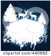 Royalty Free RF Clip Art Illustration Of A Grungy White Frame With Deer And Evergreens Over A Blue Winter Background by Pushkin