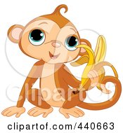 Royalty Free RF Clip Art Illustration Of A Monkey Eating A Banana by Pushkin