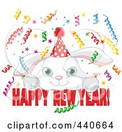 Royalty Free RF Clip Art Illustration Of A Cute Party Bunny Over Happy New Year Text