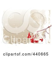 Royalty Free RF Clip Art Illustration Of A Brown Winter Background With Red Ashberries And White Grunge by Pushkin