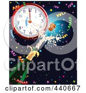 New Years Background With Confetti Champagne And A Clock At Midnight