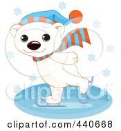 Royalty Free RF Clip Art Illustration Of A Cute Polar Bear Ice Skating In The Snow by Pushkin
