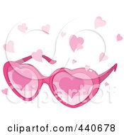 Royalty Free RF Clip Art Illustration Of A Pink Pair Of Heart Glasses With Pink Hearts Falling