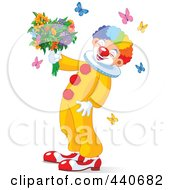 Royalty Free RF Clip Art Illustration Of A Laughing Clown Holding Flowers And Surrounded By Butterflies by Pushkin