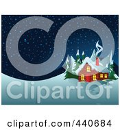 Royalty Free RF Clip Art Illustration Of Smoke Rising From A Winter Cabins Chimney At Night by Pushkin