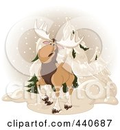 Royalty Free RF Clip Art Illustration Of A Cute Moose Standing By Evergreens In The Snow by Pushkin