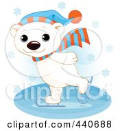 Royalty Free RF Clip Art Illustration Of A Cute Polar Bear Ice Skating In The Snow Over Blue by Pushkin