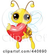 Cute Bee Holding A Shiny Red Heart