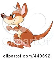 Royalty Free RF Clip Art Illustration Of A Hopping Kangaroo by Pushkin