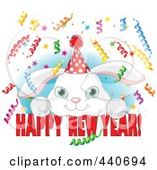 Royalty Free RF Clip Art Illustration Of A Cute Party Rabbit Over Happy New Year Text On Blue And White