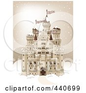 Royalty Free RF Clip Art Illustration Of A Big Castle In The Snow