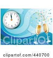 Royalty Free RF Clip Art Illustration Of A New Years Background With Champagne And A Clock Nearing Midnight On Blue