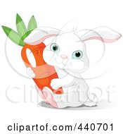 Royalty Free RF Clip Art Illustration Of A Chubby White Bunny Holding A Carrot by Pushkin