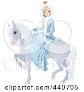 Royalty Free RF Clip Art Illustration Of A Winter Princess On A Gray Horse by Pushkin