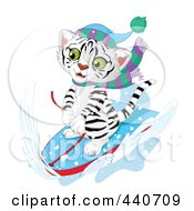 Royalty Free RF Clip Art Illustration Of A Cute White Tiger Sledding In The Snow