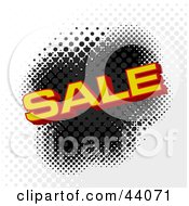 Clipart Illustration Of Red And Yellow Sale Text Over A Halftone Black Gray And White Dotted Background