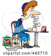 Royalty Free RF Clip Art Illustration Of A Cartoon Tired Christmas Shopper Drinking Coffee by toonaday
