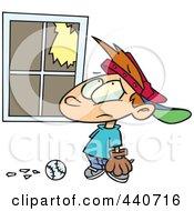 Royalty Free RF Clip Art Illustration Of A Cartoon Baseball Boy Looking At A Broken Window