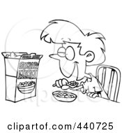 Royalty Free RF Clip Art Illustration Of A Cartoon Black And White Outline Design Of A Girl Eating Sugary Cereal