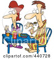 Royalty Free RF Clip Art Illustration Of A Cartoon Couple Eating Breakfast Together