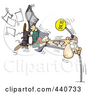 Royalty Free RF Clip Art Illustration Of A Cartoon Man Holding Onto A Pole At The Bus Stop During A Wind Storm