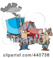 Royalty Free RF Clip Art Illustration Of A Cartoon Police Man Assisting A Trucker With A Broken Down Rig by toonaday