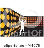 Clipart Illustration Of A Silhouetted White Man Celebrating By An Orange Dot Wall On Black And White by Arena Creative