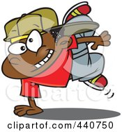 Royalty Free RF Clip Art Illustration Of A Cartoon Black Boy Breakdancing