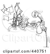 Royalty Free RF Clip Art Illustration Of A Cartoon Black And White Outline Design Of A Man Holding Onto A Pole At The Bus Stop During A Wind Storm